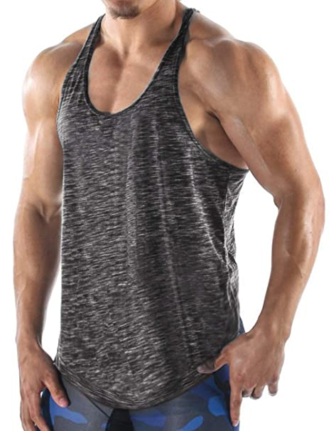 cd65246d Amazon.com: COOFANDY Men's Gym Tank Tops Workout Muscle Tee Training  Bodybuilding Fitness T Shirts: Clothing