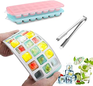 LIONVISON Food Grade Silicone Ice Trays Molds,Ice Cube Trays with Lids,Flexible and Easy Release, Non-toxic & BPA Free 21 Ice Cube Molds, Stackable,Durable and Dishwasher Safe