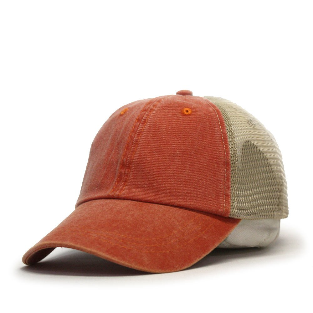Vintage Washed Cotton Soft Mesh Adjustable Baseball Cap (Orange/Orange/Khaki)