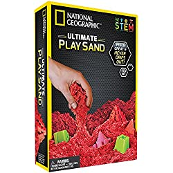 National Geographic Play Sand - 2 LBS of Sand with Castle Molds and Tray (Red) - A Kinetic Sensory Activity