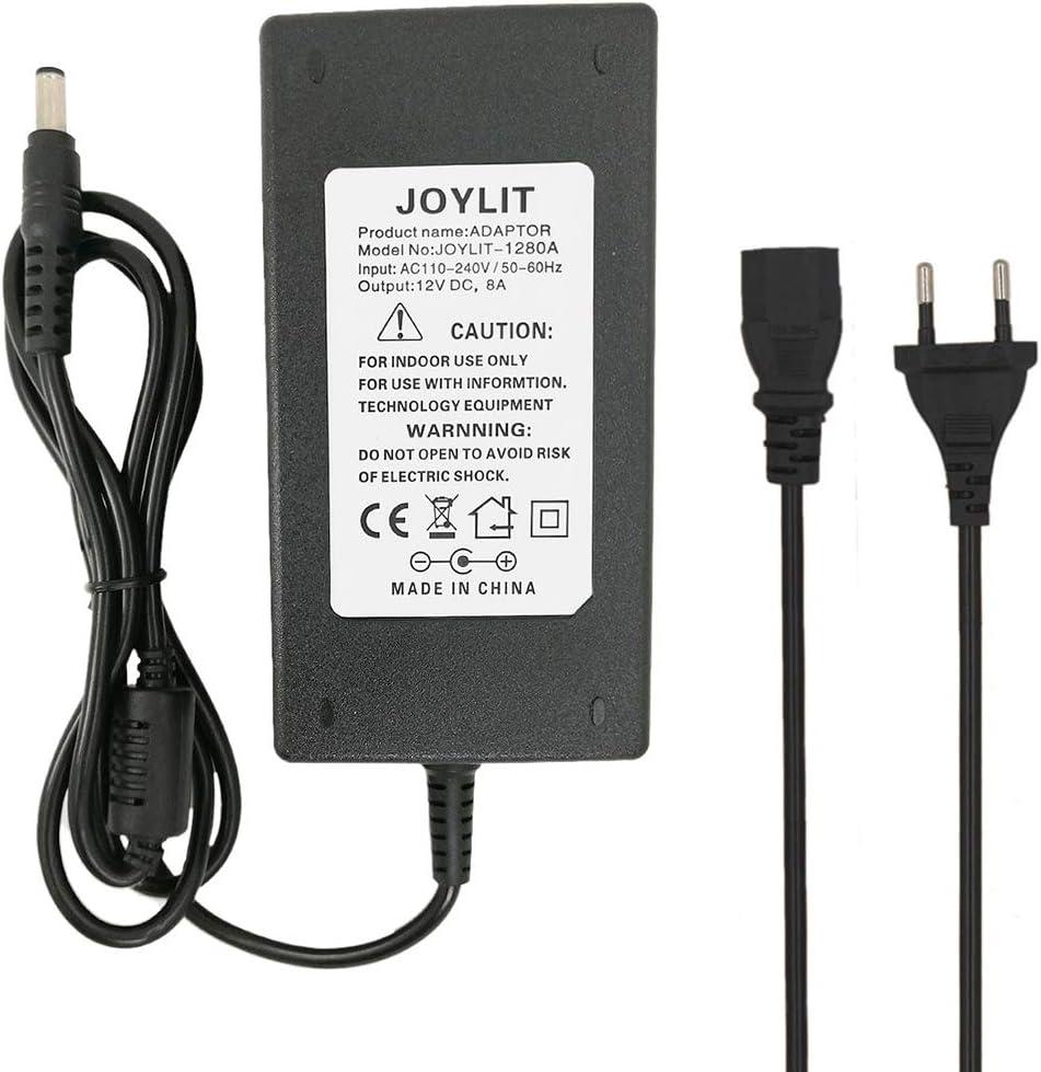 JOYLIT AC100-240V a DC12V 8A 96W Adaptador de Corriente Transformador