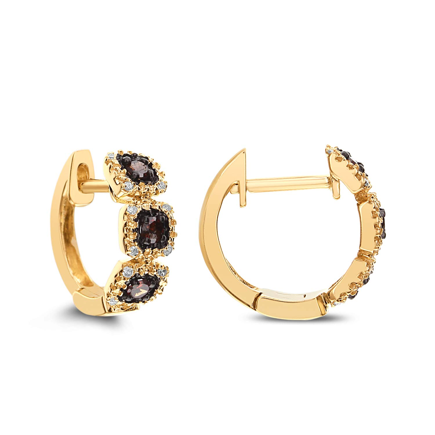 Diamond Couture 10K Yellow Gold Diamond Hoop Huggies Earring (0.10cttw Brown Diamonds and 0.05cttw White Diamonds I-J Color, I1-I2 Clarity), Gift for Her