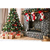 10x6.5ft(3x2m) Pon the Christmas Tree and Three little Socks Fireplace Photographer Backgrounds no Wrinkle Backdrops wdcxm001