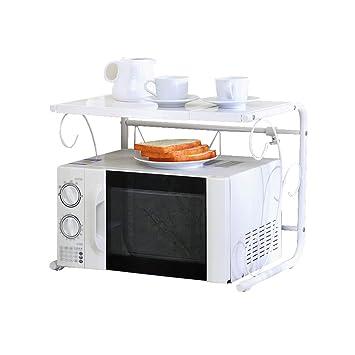 Multifunción Simple Cocina Moderna Estante Horno de Microondas Estante Blanco 2 Niveles Pisos de Acero Inoxidable