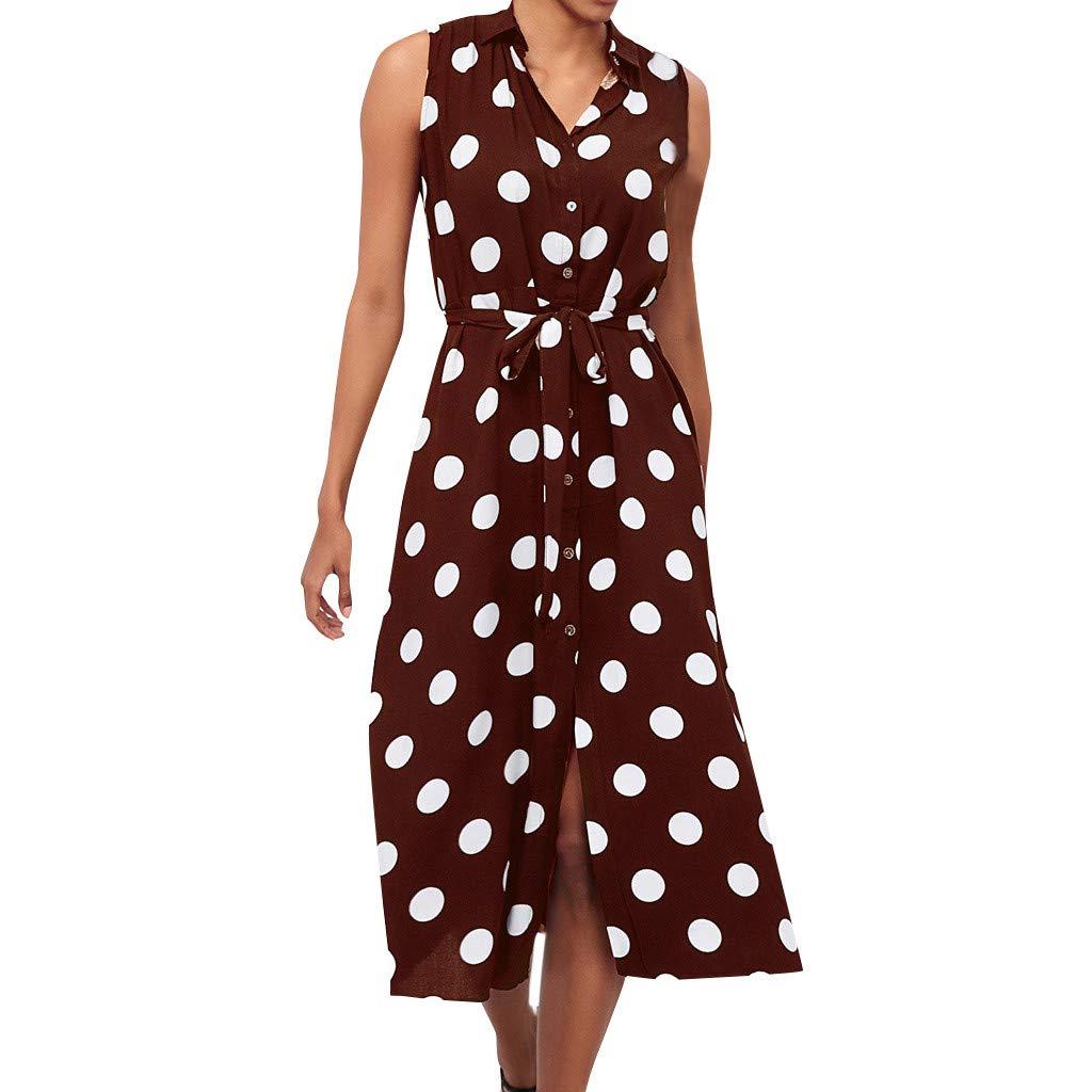 Likecrazy Damen Boho Kleid Mode Frauen Polka Dot Prints V-Ausschnitt Armelloses Kleider Mode Beiläufig Strandkleid mit Gürtel Modischste Draussen Blumenkleid Lang Maxikleid