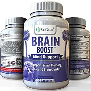 BRAIN-BOOST Natural Brain Function Support Supplement - Best Mental Alertness Nootropic to Enhance Memory, Focus Factor, Clarity & Energy /w Ginko Biloba Leaf, St. John's Wort, DMAE, L-Glutamine