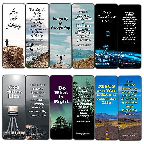 Bible Verse About Christmas (Bible Verses About Integrity Bookmarks Cards (12-Pack) - Christian Encouragement Gifts - Church Supplies - Stocking Stuffers for Father's Day Easter Day Thanksgiving Christmas Birthday)