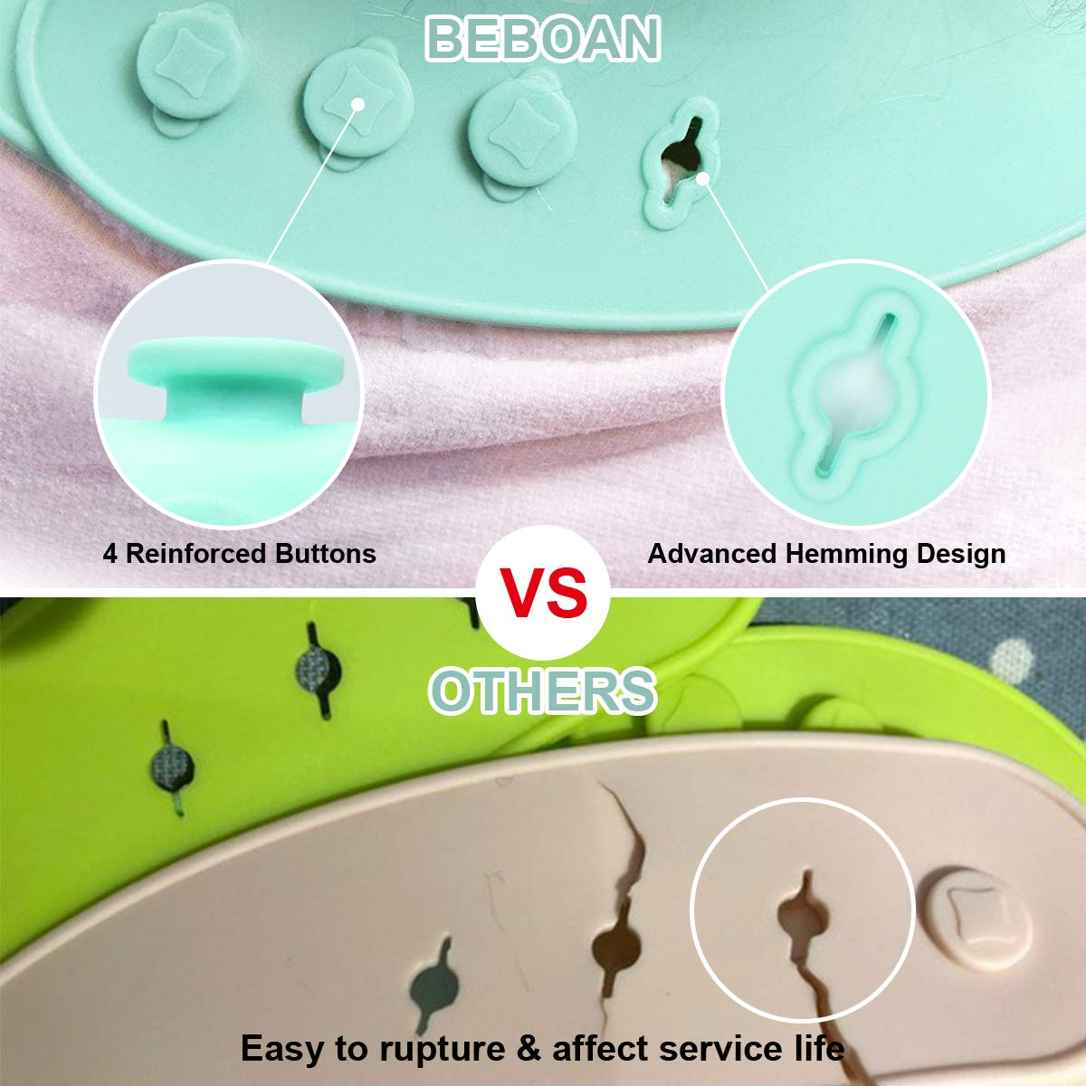 EBOAN Silicone Baby Bibs AGE 2pcs Waterproof Food Crumb Catcher Pocket Weaning