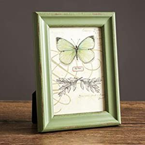 Wood Pattern Rustic Picture Frame,Solid Wood Tabletop Photo Frames with High Definition Glass Green 19x14cm(7x6inch)