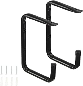 Heavy Duty Garage Wall Ceiling Mounted Bike Storage Hooks, Garage Utility Hangers & Organizer for Ladder,Tools, Bicycle (2 Pack, Black)