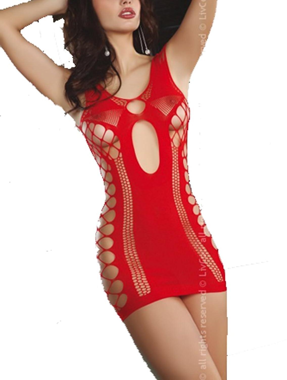 Livia Corsetti Fashion EF-EG-lc17135 Minikleid Anshula Sommerkleid Transparentes Kleid ab den Beinen bis oben offen Rot Schwarz S-L