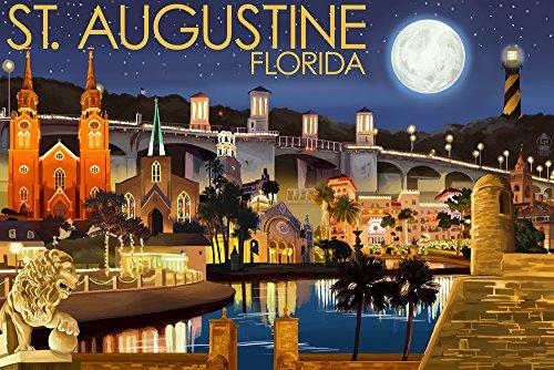(St. Augustine, Florida - Night Scene (9x12 Art Print, Wall Decor Travel)