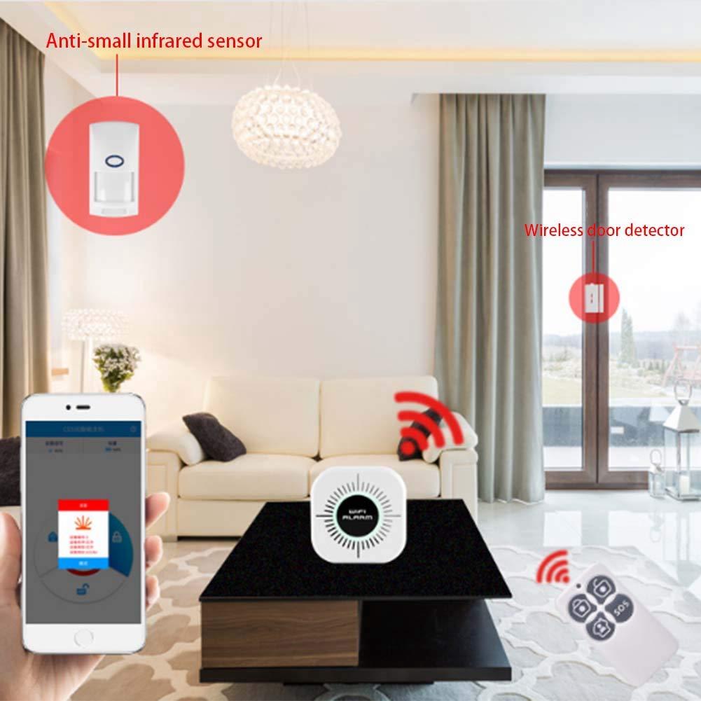 XZANTE 433Mhz Sistema de Alarma de Seguridad Antirrobo Inal/ámbrico WIFI 25Kg Kit de Detector Sensor de Movimiento Pir Inmune Para Mascotas Control de Aplicaciones de Tel/éfono Inteligente