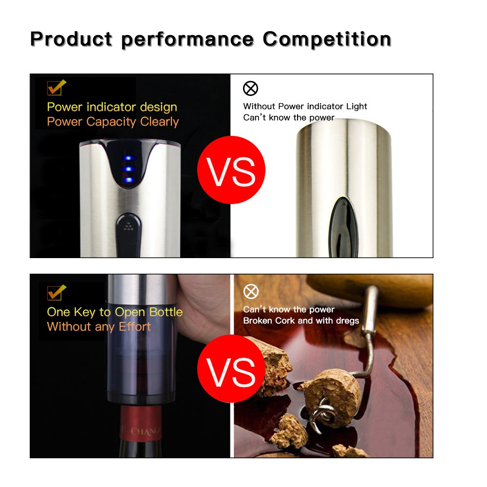 Electric Wine Opener with Foil Cutter Automatic Corkscrew and Foil Remover Stainless Steel One Touch Wine Bottle Opener Perfect Gift for Any Wine Lover (Stainless Steel Electric Wine Opener) by YonRui (Image #5)