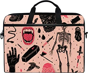 Protective Shoulder Bag Sleeve Protable Halloween Horror Skull Briefcase Waterproof Laptop Case for 15 Inch Notebook Computer