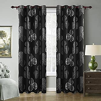 Deconovo Black Blackout Curtains Goat Willow Leaf Print Room Darkening For Bedroom Classy Thermal Insulted