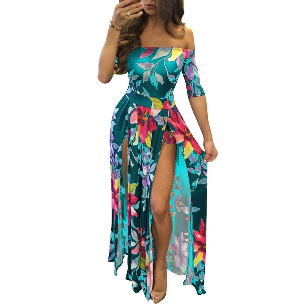 9bae735b7c37 Women Sexy Maxi Romper Dresses - Off Shoulder Floral Short Summer Jumpsuits  High Slit at Amazon Women s Clothing store