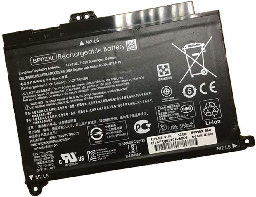 7XINbox 7.7V 41Wh 5150mAh BP02XL HSTNN-LB7H HSTNN-UB7B BP02041XL 849569-421 849909-850 Replacement Laptop Battery for HP Pavilion PC 15 15-AU 15-AU018WM 15-AU010WM 15-AU123CL 15-AW053NR Series