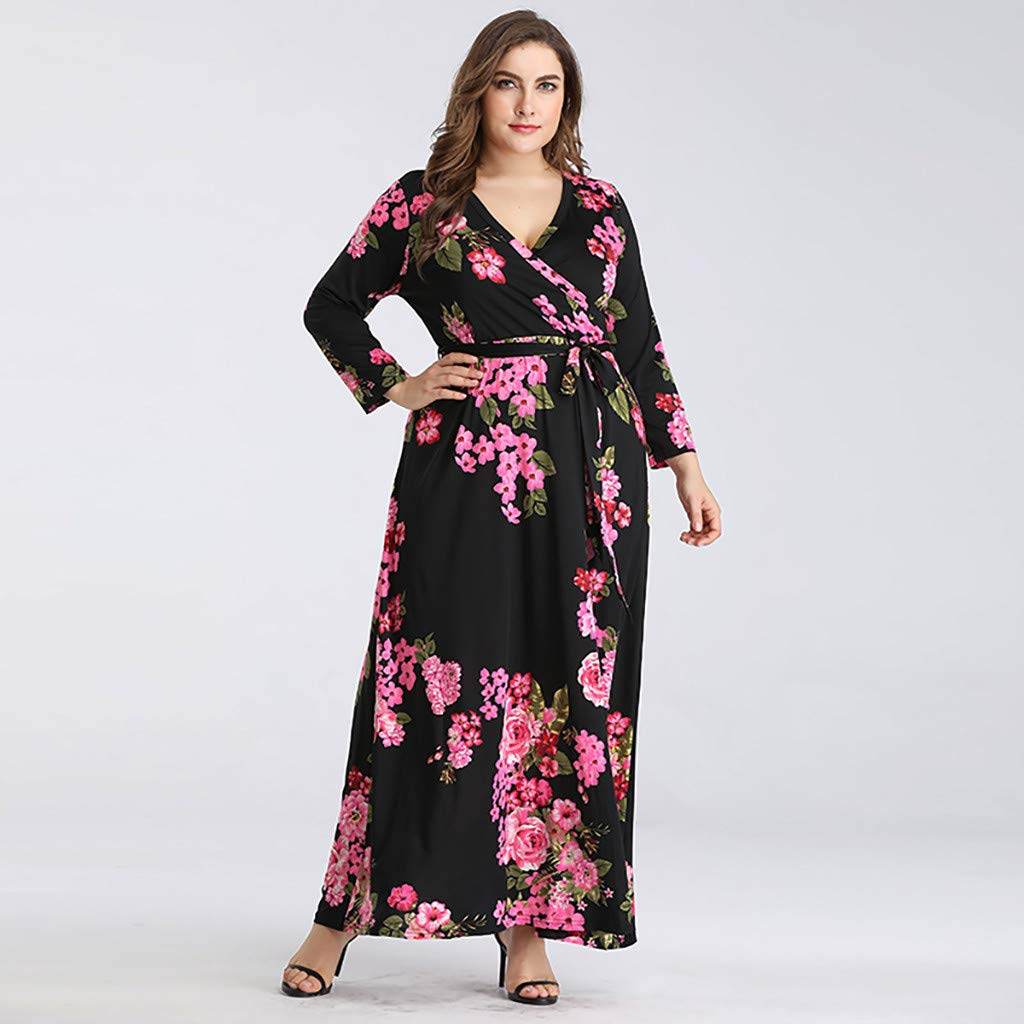 Women\'s Floral Maxi Dress V-Neck Long Sleeve Dress Ladies ...