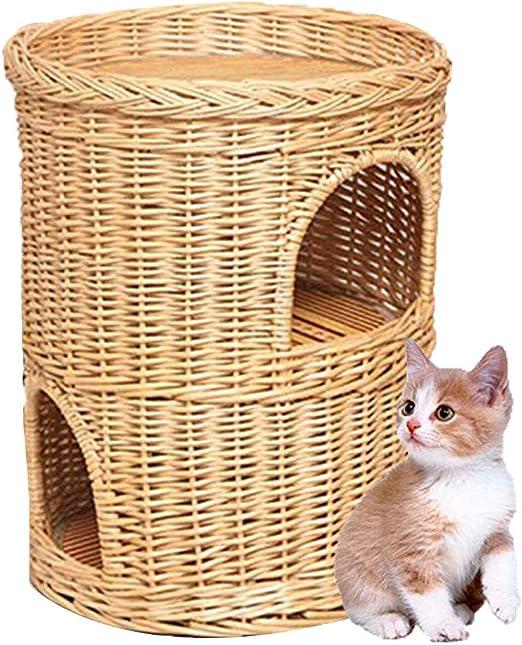 Wicker Cat Tower Casa De Dos Niveles con Canasta De Cama, Mimbre para Gatos Casa De Gatos Four Seasons Universal Cat Cat, Sala De Gatos Lavable: Amazon.es: Hogar