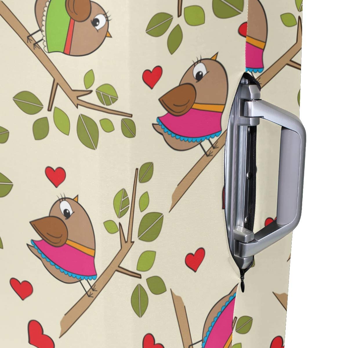 Baggage Covers Funny Birds Rest On The Branches Washable Protective Case