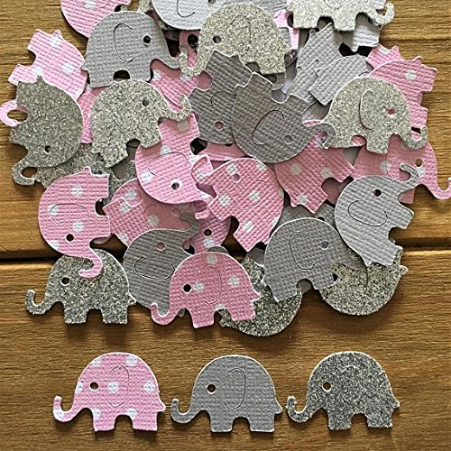 SSJSHOP 100 Pink and Gray Elephant Confetti, Pink Elephant, baby shower confetti, It's a Girl, elephant decoration, girl baby shower, girl birthday (Wooden Owl Cut Outs)