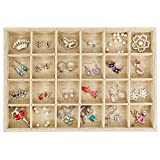 2 Trays Printer - Valdler Sackcloth Stackable 24 Grid Jewelry Tray Showcase Display Organizer
