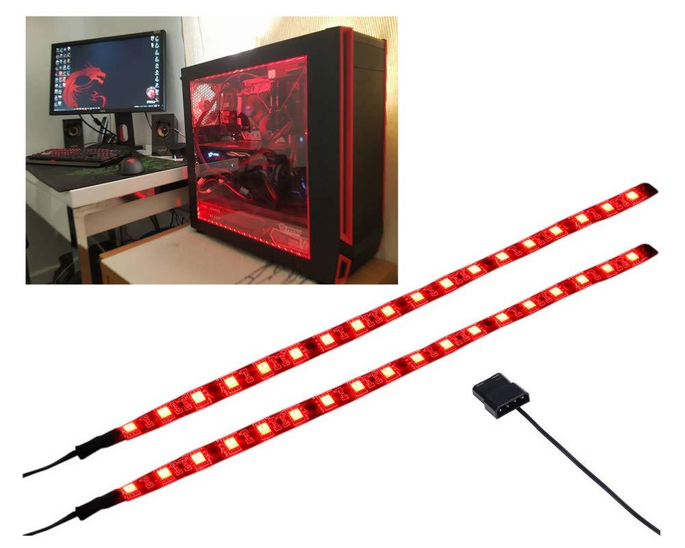LEDdess LED Light Strip Computer Lighting RED, Magnetic, Molex Connector, 2pcs LED Strip for PC Case Lighting Kit (30cm,18leds,S Series)