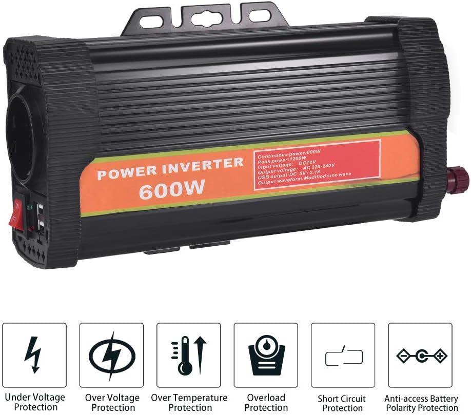 600W WZTO 600W Inversor de Corriente DC 12V a AC 220V-240V Convertidor de Corriente con 2 Puertos USB 5V//2.1A y 1 Toma Enchufe Inversor para Coche Camping Cami/ón RV