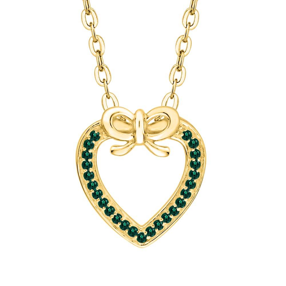 KATARINA Gemstone Love Knot Heart Pendant Necklace in 10K Gold 1//6 cttw