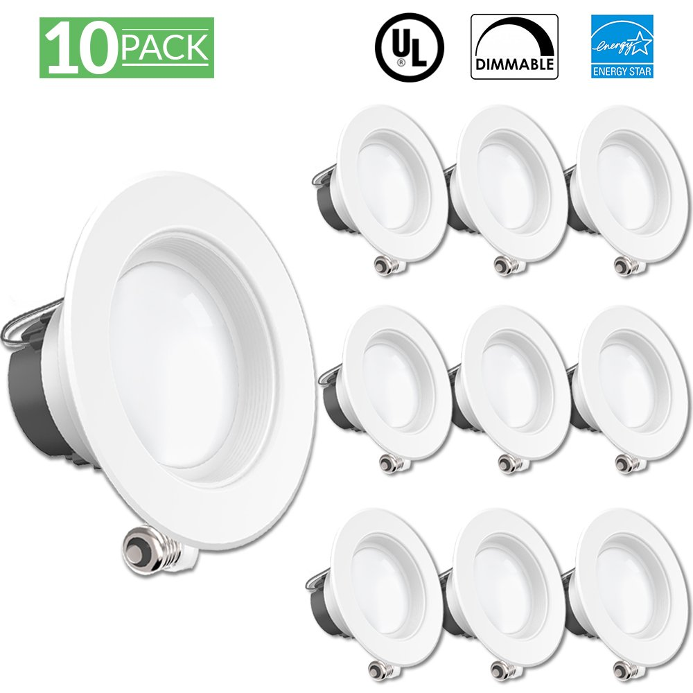 Sunco Lighting 10 Pack 4 Inch Baffle Recessed Retrofit Kit Dimmable LED Light, 11W (40W Replacement), 2700K Kelvin Soft White, Quick/Easy Can Install, 660 Lumen, Wet Rated