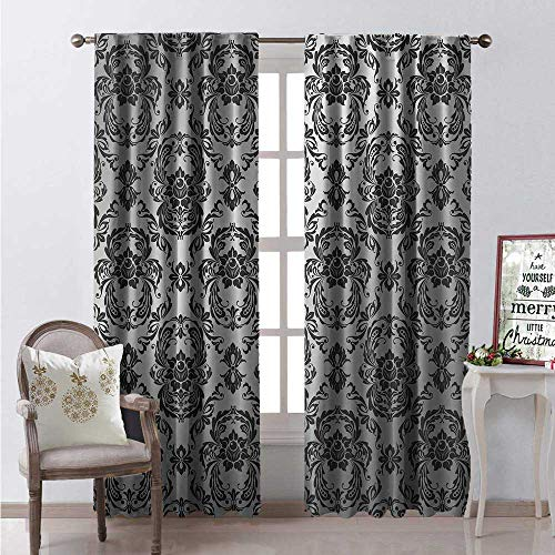 Hengshu Grey Window Curtain Drape Classic Baroque Style Ancient Detail Europian Elegant Motifs Western Old World Art Deco Customized Curtains W84 x L108 Silver Black