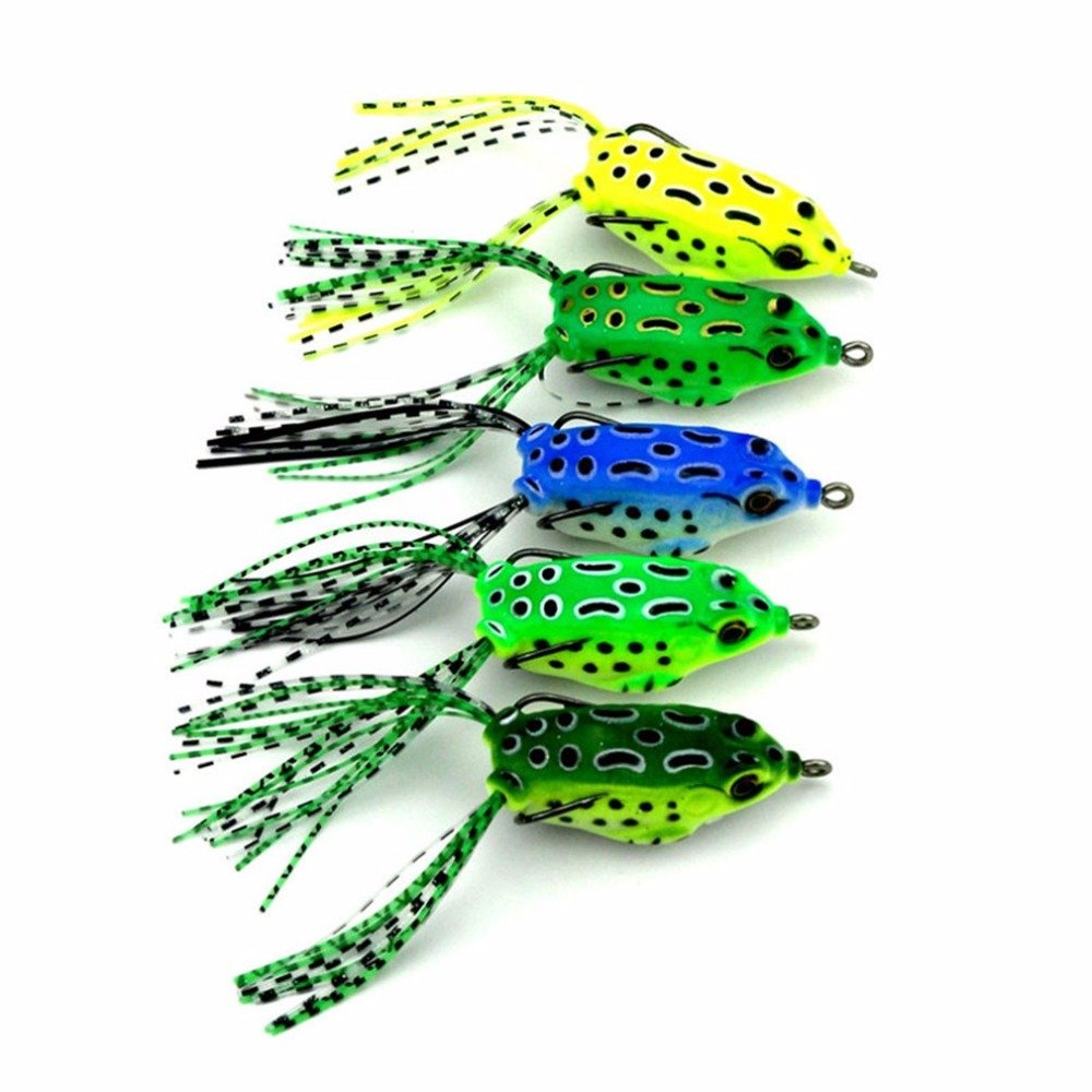 5PCS Dual Hooks Frog Baits 5.5CM Soft Mini Fishing Lures Portable Crankbaits Metal Hooks