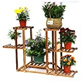 Wooden Plant Stand,UNHO Six-Tiered Planter, Bonsai Display, Indoor Outdoor Flower Rack for Yard Decor