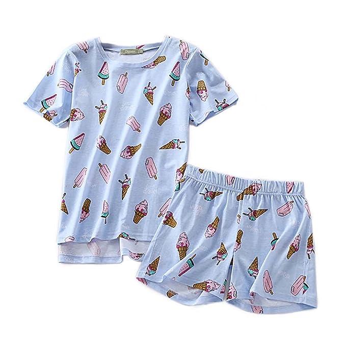Backbuy Pijamas cortos para mujer Algodón Ropa de dormir Camiseta y pantalones cortos: Amazon.es: Ropa y accesorios