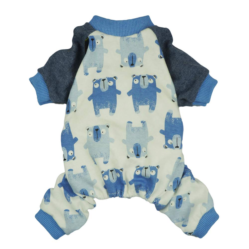 Fitwarm Lovely Bear Pet Clothes for Dog Pajamas Cat Jumpsuit PJS Apparel Cotton Blue