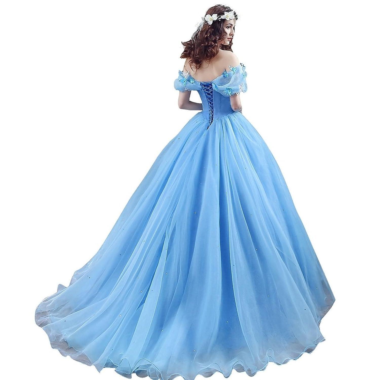 Amazon.com: CEZOM Women\'s Cinderella Quinceanera Prom Dress Tulle ...