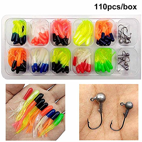 110 Piece 10 Mixed Colors Fishing Lures Crappie Tube Jigs (Crappie Fishing Jigs)