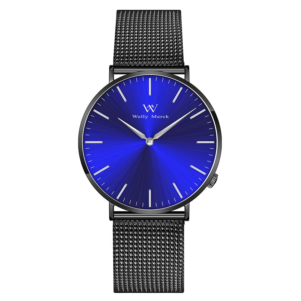 Welly Merck Swiss Movement Sapphire Crystal 42mm Blue Sunray Dial Men Luxury Watch Minimalist Ultra Thin Slim Analog Wrist Watch 20mm Black Stainless Steel Mesh Band 164ft Water Resistant by Welly Merck