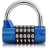 Surplex 5 Digit Combination Padlock, Waterproof Antirust, Combination Resettable Locks, Security Number Lock, for Outdoor Gym Home School Office Bicycle Suitcase Luggage Backpack