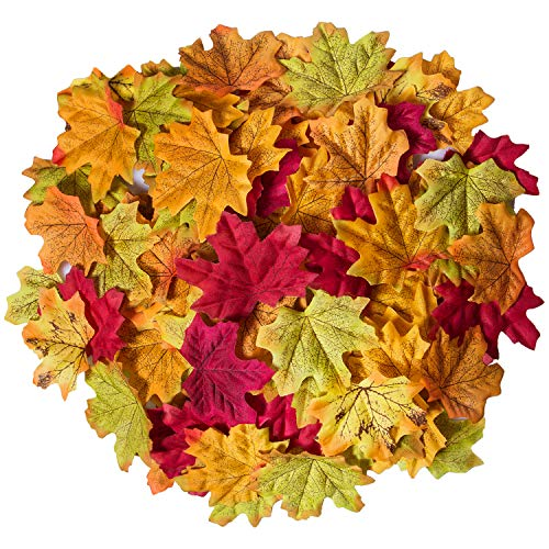 Bassion 400 Pcs Assorted Mixed Fall Colored Artificial Maple Leaves for Weddings, Events and Decorating, One Size