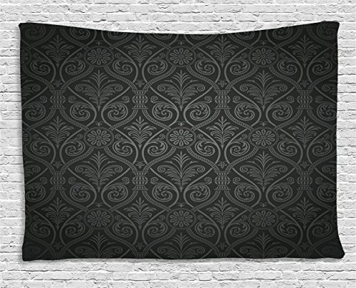 Black Tapestry by Ambesonne, Antique Baroque Damask Pattern Gothic Curvy Vintage Victorian Venetian Style, Wall Hanging for Bedroom Living Room Dorm, 60 W X 40 L Inches, Charcoal Grey