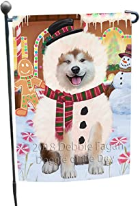 Doggie of the Day Christmas Gingerbread House Candyfest Akita Dog Garden Flag GFLG56674