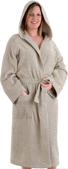 homelife – albornoz con Capucha para hombre y mujer rizo Jacquard – albornoz Suave de PURO Algodón de alta absorción – Elegante diseño de espiga, Bolsillo frontal y cinturón,% Made in Italy: