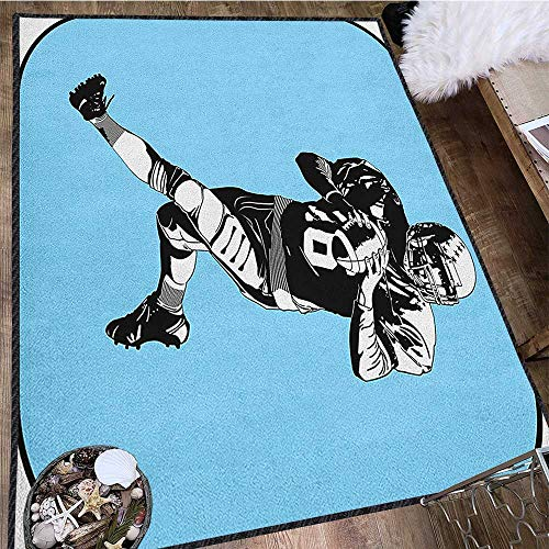 Tufted Rugby Black Hand - Sports Home Decor Mats,American Football League Game Rugby Player Run Original Retro Illustration Chic Pattern Anti-Static Blue Black White 63