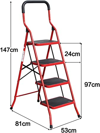 WSWJJXB Taburete Plegable Grande de Hierro Taburete Antideslizante para Adultos Escalera con Pedal Antideslizante Reposapiés portátil al Aire Libre/ Escalera/Estante de Almacenamiento/Soporte par: Amazon.es: Hogar
