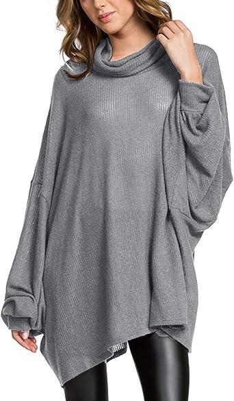 ACHIOOWA Camisetas Mujer Manga Larga Tops Manga Murciélago Casual Jersey con Cuello Vuelto Blusa Camiseta Color sólido: Amazon.es: Ropa y accesorios