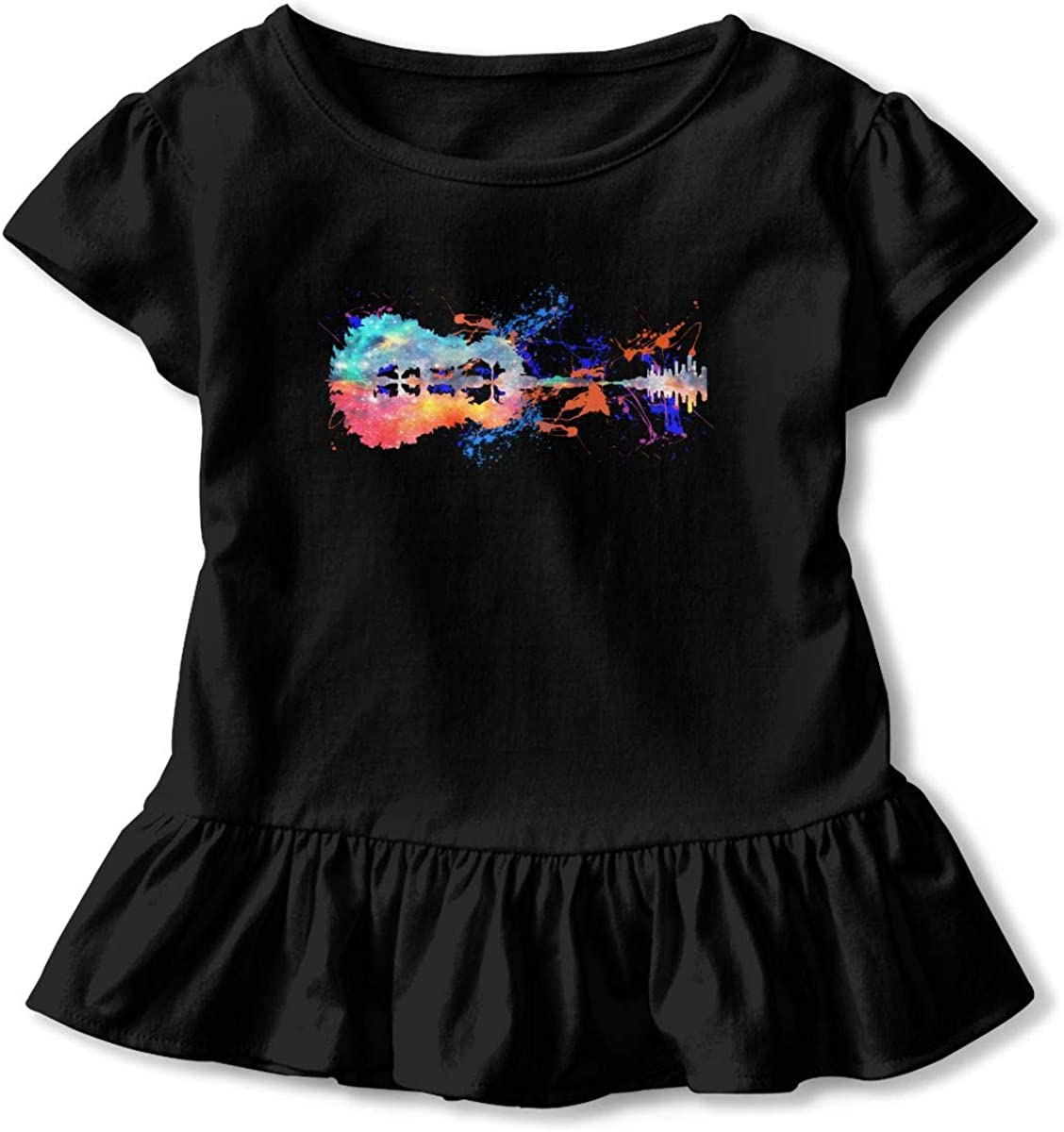 Nature Space Guitar Watercolor Toddler Girls T Shirt Kids Cotton Short Sleeve Ruffle Tee