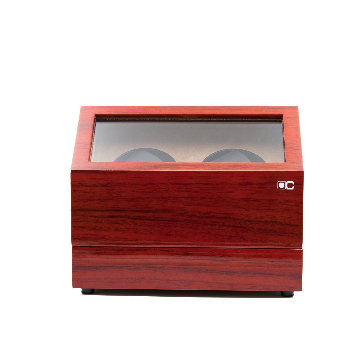 KAIHE-BOX Classic Watch Winders for 2 Watches for automatic Watch Winder Rotator Case Cover Storage(2 color,ww-02132) , Red by KAIHE-BOX (Image #3)