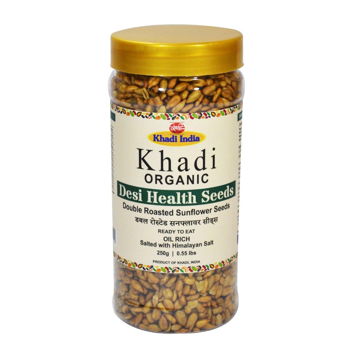 Khadi Organic Roasted Salted Sun Flower Seeds 250 GM - 100% Natural, Gluten-Free, High-Fibre, Healthy Organic Food Rich in Proteins, Vitamins, Minerals